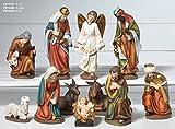 Idea Navidad: pesebre con natividad, compuesto por 11 figuras de resina decorada