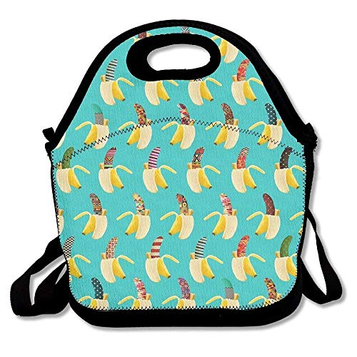 fengxutongxue Large Reusable Picnic School Food Lunch Bags Case Box Handy Shoulder Bag Portable for Magical Banana Blue Pattern