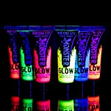 UV Glow Neon Face and Body Paint Set of 6 Tubes - Fluorescent - Brightest glow under UV!