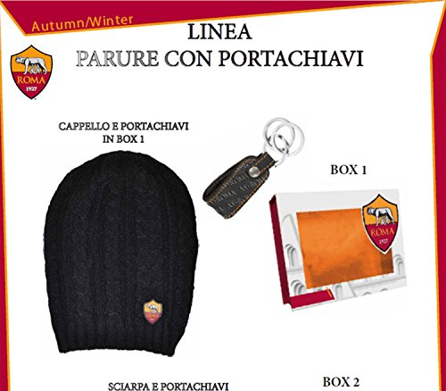 AS ROMA Cappello e Portachiavi In Pelle in Box