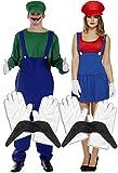 Homme pour femme Luigi et Mario Couples d'ouvrier plombier Déguisement avec des gants et moustache