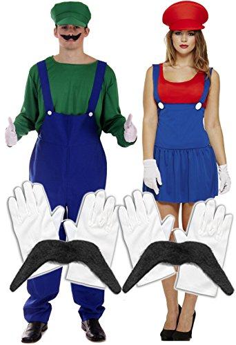 Mario, Luigi, Herren, Damen und Paare Klempner Handwerker-Kostüm: Set mit Handschuhen und (Kostüm Damen Klempner)