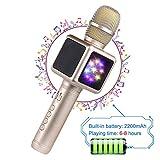 Drahtloser Bluetooth-Mikrofon-Lautsprecher/Karaoke, geeignet für Smartphone oder PC, mit LED-Licht und Änderung der Soundeffekte, Tragbarer Lautsprecher für Outdoor Party KTV, 2200 mAh,Gold