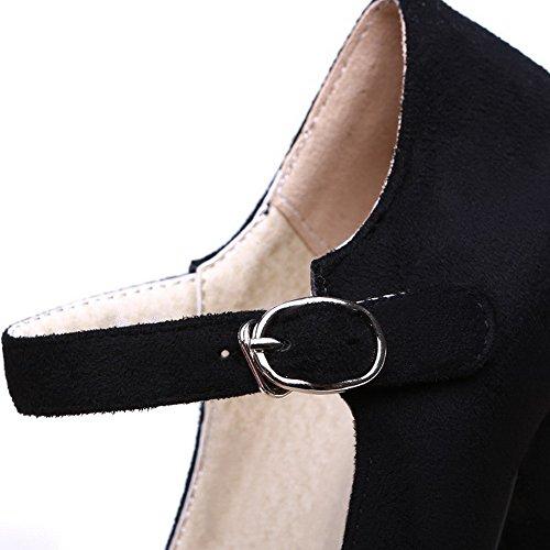 AllhqFashion Femme Dépolissement Boucle Rond à Talon Haut Chaussures Légeres Noir