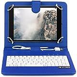 OME- Funda tablet con teclado para Samsung Galaxy S2 8 pulgadas modelo T710/T715/T719 con OTG y MicroUsb-Azul