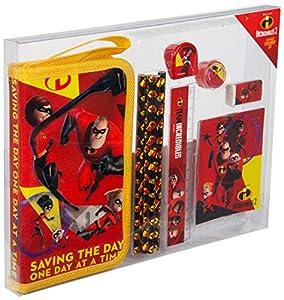 Sambro DIN-6252 - Set de Escritura con Estuche y Accesorios, diseño de Disney Las increíbles (10 Piezas)
