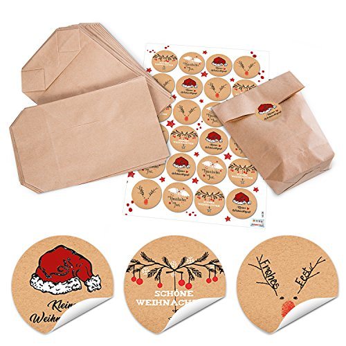 10piccolo sacchetto di carta marrone con pavimento (14x 22x 5,6cm) + 24rotonda di Natale con testo 4cm; colore: nero/rosso/bianco (14126) natalizi Sacchetti regalo per Natale Sacchetti di cart