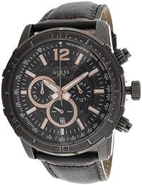 Guess Herren-Armbanduhr XL Analog Quarz Leder W19006G2