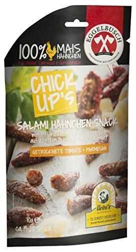 ChickUp's Salami Hähnchen-Snack mit Pflanzenöl und Pflanzenfett, Tomate- Parmesan, 10er Pack (10 x 70 g)