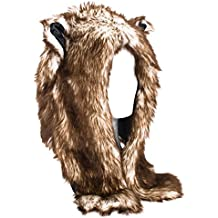 Gorro Unisex Mujer De Piel De Imitación Con Diseño Animal, Bufanda