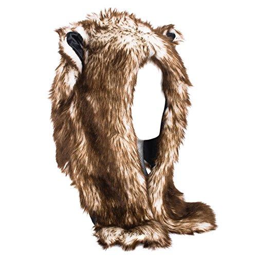 Lobo de piel sintética de sombrero animal con la bufanda ADJUNTO
