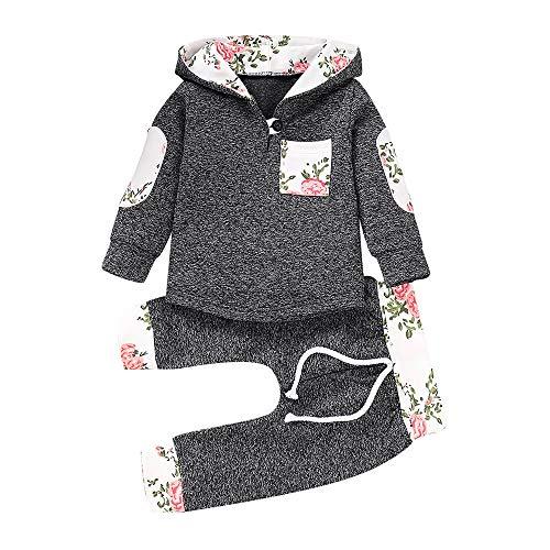 n Mädchen Bekleidungssets Babymode Jungenbekleidung Mädchenbekleidung Floral Hooded Pullover Tops Hosen Outfits Set 3 Monate bis 3 Jahre alte Kinderkleidung Felicove ()