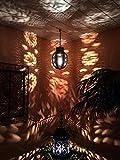 Orientalische Lampe Pendelleuchte Rostfarben Dunya E27 Lampenfassung | Marokkanische Design Hängeleuchte Leuchte aus Marokko | Orient Lampen für Wohnzimmer, Küche oder Hängend über den Esstisch