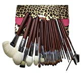 MZP Pinceles de maquillaje Herramienta profesional Set de pinceles de maquillaje de 24 piezas con estuche de viaje marrón
