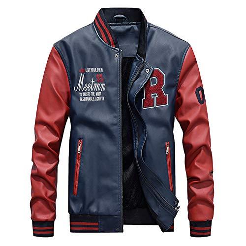 Sijux PU Lederjacke für Männer Wolle Liner Fleece Warme Patchwork Militärjacke Baseball Kragen Pilot Lederjacke Mantel,Red,L (Baseball Lederjacke)