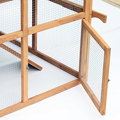 Pawhut Double Tier Waterproof Wooden Chicken Coop Outdoor Rabbit