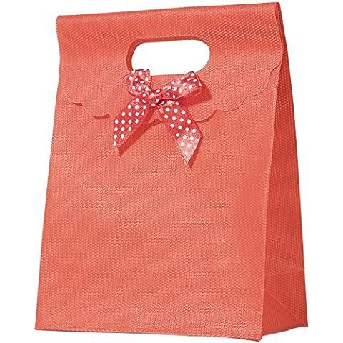 Tasca Regalo In Plastica aspetto tessuto 16x 12–rosso–Nodo tessuto