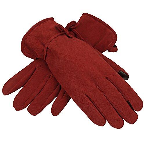 OZERO Hirschleder Handschuhe Damen Winter Warm Samt Gefüttert Touchscreen Handchuhe mit Verstellbarem Gürtel Sport für Mädchen (Rot, M) (Handschuhe Thinsulate Damen)
