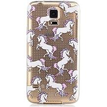 Samsung Galaxy S5 Funda,KSHOP Funda Case Cover TPU Silicona Gel Goma flexible Suave Carcasa Caso Transparente delgado Con impresión Patrón Anti-golpe Resistente a los Aranazos - animal caballo