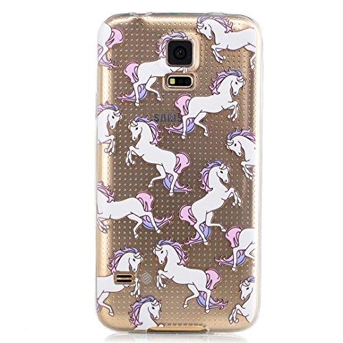 Custodia Per iphone 6 plus/6S plus(5.5) ,KSHOP Silicone TPU Flessibile Silicone Gel Custodia Case Cover posteriore morbida Trasparente + Dipinto - unicorno cavallo