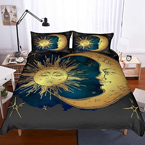 e fundas 3D Dark Gold Sonne Und Mond Druck 3 Stück Set Bettwäsche 100% Mikrofaser Verwendet Für Hauptdekoration (1 Bettbezug + 2 Kissenbezüge) O-Twin(172x218cm) ()