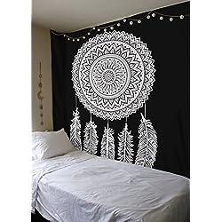 Atrapasueños Diseño-Negro y Blanco/de la India hindú colgante de pared-100% algodón, diseño de flores decoración de la pared por sheetkart