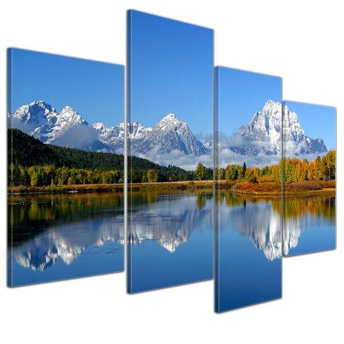 """Bilderdepot24 Immagine su telaio a cunei """"paesaggio di montagna USA - Oxbow Bend"""" - 120x80 cm set 4 pezzi - Già montato sul telaio, Stampa artistica intelaiata e pronta da appendere"""