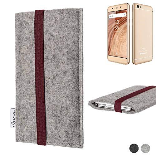 flat.design Handy Hülle Coimbra für Blaupunkt SL02 - Schutz Case Tasche Filz Made in Germany hellgrau Bordeaux