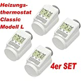 "4er Set - Heizkörper-Thermostat Classic ""L"" mit Boost-Funktion +++ neues leises Model"