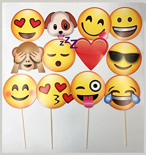 JZK® 12 x Emoji Foto Verkleidung Papier Partei Requisiten Photo Booth auf Stick für Kinder Erwachsene, Party Favour Zubehör für Hochzeit Hen Party Geburtstag Taufe Weihnachten Halloween Graduierung (12 x Emoji)