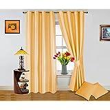 Dekor World Plain Beige Curtain And Cushion Combo.-Set Of 4 Pcs