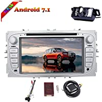 Android 7.1 Nougat Double Din Car DVD Player Stereo 7 Inch Capacitive Multi-touch Screen In Dash GPS Navigation support Bluetooth/DVR/WiFi/AM/FM/Mirror Link/SWC for Ford Focus 2009-2012 + Camera