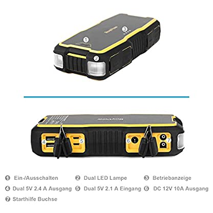 51FDaJwtsLL. SS416  - RoyPow IP66 Arrancador de Coche (Motores Gasolina 8.0L o Diesel 5.0L) Arrancador de baterías Batería automática Power Booster Banco de energía 120W 12V DC Power Pack