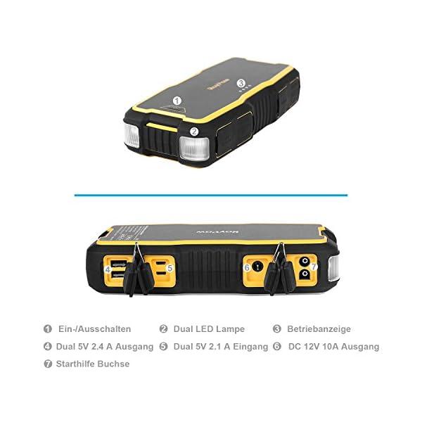 RoyPow IP66 Arrancador de Coche (Motores Gasolina 8.0L o Diesel 5.0L) 12V Arrancador de baterías Batería automática Power Booster Power Pack Banco de energía Con Dos puertos USB para carga rápida