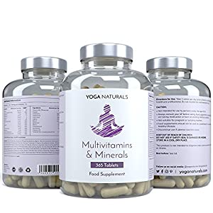 YOGA NATURALS Multivitamins & Minerals 365 Tablets. Daily Complete Multi-Mineral & Multi-Vitamin Complex for Men & Women. 1 Year Supply. from YOGANATURALS