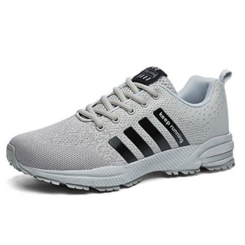 Sollomensi Laufschuhe Retwin Turnschuhe Straßenlaufschuhe Sneaker mit Snake Optik Damen Herren Sportschuhe Schuhe EU 42 C Grau (Grau Sportschuhe)