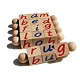 The Original Montessori Phonetic Reading Blocks - Educational Materials for the Beginning Reader - 3 4 5 6 Year Old - Eco Friendly Wooden CVC Manipulative Toy for Early Years Language Learning