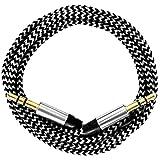 [i!®] 0,2m/20cm Premium Nylon AUX Audiokabel Klinke 3,5 auf Klinke 3,5 @ weiß