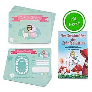 ZWEN Zahnfee Urkunden (20 Stk) I Zahnfee Geschenk für Mädchen & Jungen + GRATIS E-Book mit 20 Zahnfee Geschichten für…