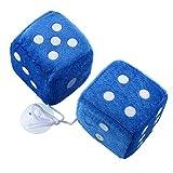 Sedeta Paar Blau Fuzzy Dice-Punkte-Rückspiegel-Aufhänger Oldtimer-Zubehör