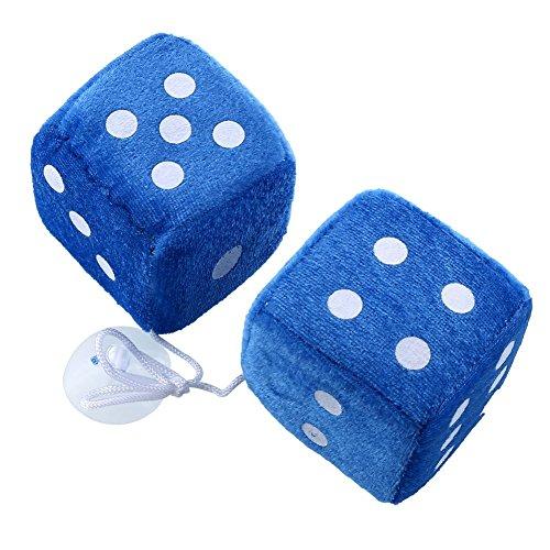 Auntwhale 1 Paar Blau Fuzzy Plüsch Würfel Weiße Punkte Rückansicht Spiegelaufhänger Oldtimer-Autozubehör Auto Dekoration (Fuzzy Dice Blau Auto Für)