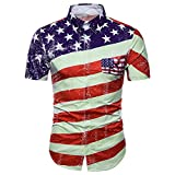 Cebbay Camiseta Rayas Bandera Americana Independence Day 3D Print Casual Manga Corta Top de la Camisa(Rojo, x-Large)