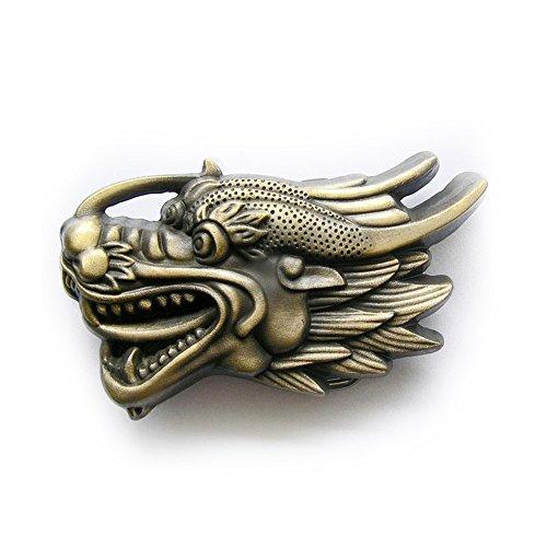eeddoo Gürtelschnalle - Flying Dragon - Drache antik (Buckle für Wechselgürtel für Damen und...