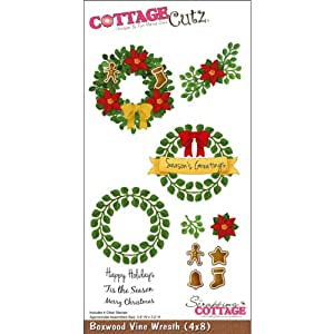 CottageCutz Die 4''X8'' W/Foam And Cottage Impressions Stamps-Boxwood Vine Wreath