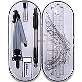 Xinlie Math Géométrie Kit de Math Géométrie Kit 8pcs Outils de Géométrie Compas Règle Equerre Rapporteurs Géométriques Porte-mines Gomme à Effacer dans une Boîte de Rangement Style(8PCS)