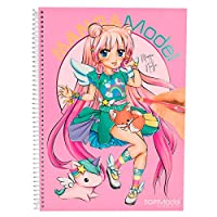Top Model 6581.001MANGAM Colouring Book with Colouring 35Sheets, Double Sided Fold-out, 2Sticker Sheets