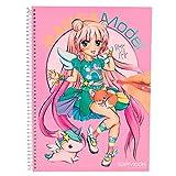 TOPModel 6581.001 Mangamodel Malbuch mit 35 Blättern Zum Ausmalen, 2 Seiten Zum Ausklappen, 2 Stickerbögen
