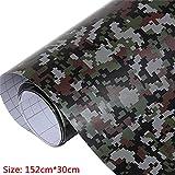 Lecimo Film Adhésif de Vinyle de Camouflage Noir Blanc Gris Camo Military Moto Scooter Autocollant de Changement de Couleur Wrap, 2#