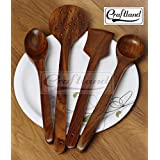 Craft Land Handmade Wooden Serving and Cooking Spoon Kitchen Tools Utensil, Non Stick (10.2x1.3x38.1cm, Brown, CLWCASSSO4569) - Set of 4
