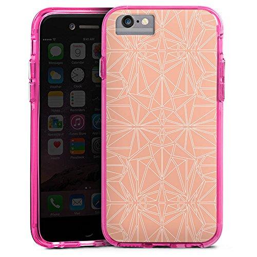 Apple iPhone 7 Bumper Hülle Bumper Case Glitzer Hülle Pattern Muster Peach Bumper Case transparent pink
